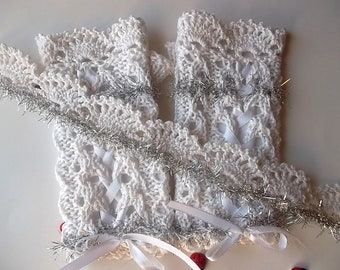 Girl Cotton Gloves plus Headband Crocheted Ready To Ship Victorian Fingerless Summer Children Lace Evening Hand Knitted White Corset CB7