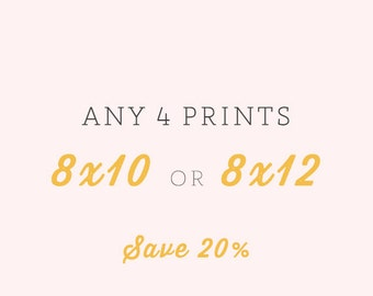 Any Four Fine Art Prints 8x10 or 8x12 - Your Choice - Save 20%, Landscape, Nature, Flower and Travel Photography