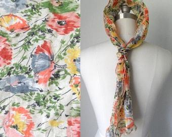 60s 70s Orange Gray and Green Sheer Floral Print Head Scarf Retro Kitsch Boho