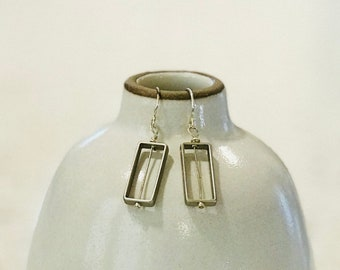 Rectangle Drop Earrings - Silver or Gold