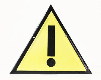 Vintage Safety Sign, Exclamation, Caution, Warning, Yellow and Black