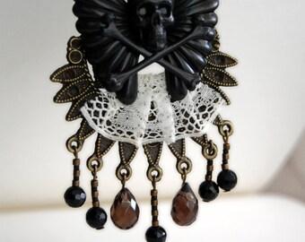 necklace - NOSTALGIA - gothic, victorian, assemblage, chestpiece, dark romance, mourning