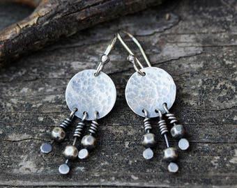 Sterling silver dangle earrings / boho fringe silver dangle earrings / gift for her / sterling silver earrings / boho earrings /jewelry sale