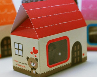 5 Mini House Paper Gift Boxs - Red (2.5 x 1.6 x 2.5in)