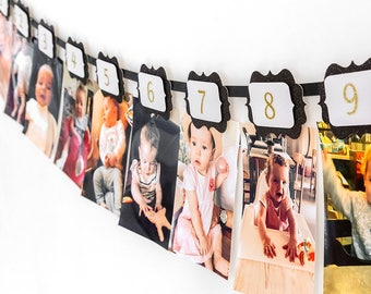 Birthday Wall Banner. First birthday banner. Photo banner.Black and gold. One year old party. Party decorations.Wall banner.Birthday garland