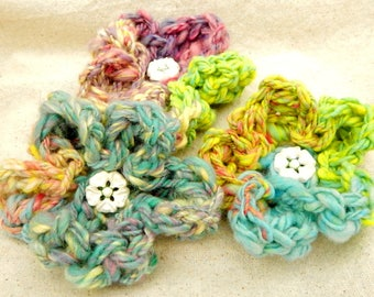 Handspun Yarn Crocheted Flower with Vintage Button - accessory embellishment - gift for crafter - unique decor