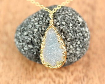 Druzy necklace - drusy necklace - crystal necklace - rainbow crystal - a 22k gold lined druzy on a 14k gold vermeil chain