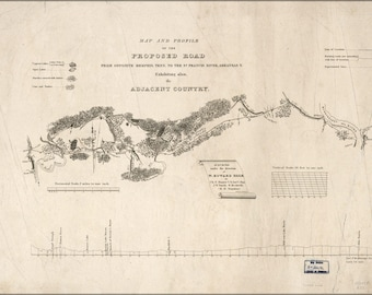Poster, Many Sizes Available; Map Proposed Road From Memphis Tennessee 1835