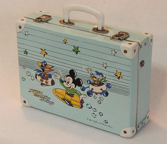 50s-60s Mid Century Retro Disney sputnik Childs Suitcase Mickey, Donald, Specks