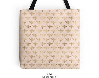 Honey Bee Tote Bag, Pink Tote Bag, Bee Tote Bag,Chic Tote,Printed Tote Bag, Work Tote Bag, Womens Tote Bag, Gift for Her, NewSerenityStudio