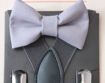 Grey Boy Bow Tie with Charcoal Grey Suspenders, Ring Bearer Outfit, Baby Boy Bow Tie, Wedding Bow Tie, Boys Clot, Boy Gifthes, Boys Bow Tie