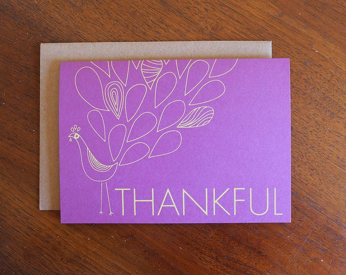 Hand Printed Holiday Greeting Card | Thanksgiving Cards | Screen Printed Turkey Notecard