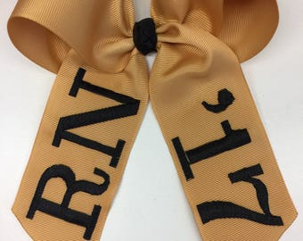 Alumni Gift, College Graduation, Cap Gown Bow,High School Hair Bow, Monogrammed Graduation, Personalized Graduation Bow, Alumni Hair Bow