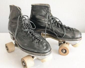 Antique wooden wheel roller skates