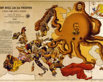Map of Europe; 1900; John Bull and his Friends; Antique Allegorical Map