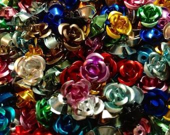 100pcs TINY METAL ROSES Colorful Aluminum