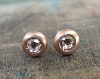 Rose Gold Earrings , Champagne Diamond Earrings , Diamond Posts , Diamonds Gold Earrings , Rose Cut Diamond Studs , Red Gold Studs