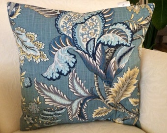 Bold Flower Pillow, Blue Floral Pillow, Light Blue Pillow, Accent Pillow, Decorative Pillow, French  Country Throw, French Cottage Sham