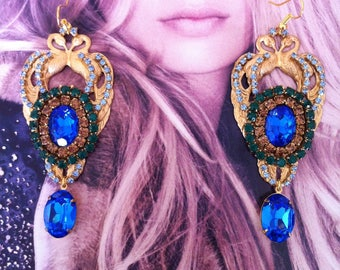 "Gorgeous ""Peacock"" earrings Royal"