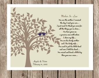 You are the mother I received the day I wed your son-Custom Print-Mother in Law Thank you Print-  Makes a Great In Law  Thank you Gift