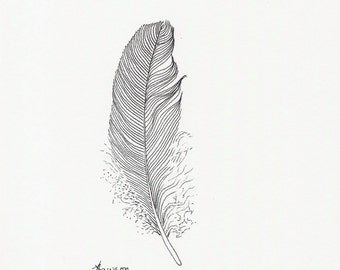 Ink feather drawing -- original feather drawing