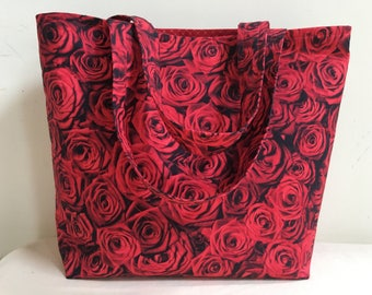 Knitting Project Bag, Scarf Bag, Project Bag, Knitting Tote, Medium Project Bag, Tote, WIP Bag, Valentine Gift, Red Roses