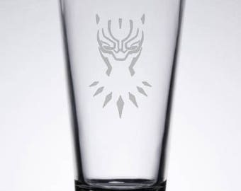 Black Panther Etched 16 oz Pub Glass Black Panther Marvel Avengers