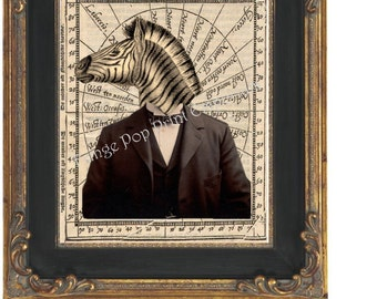 Victorian Steampunk Zebra Man Art Print 8 x 10 - The Gentleman Sir Zebra
