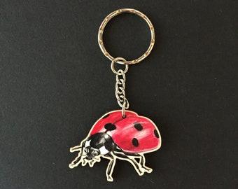 Wooden Ladybug key fob