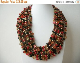 ON SALE Vintage Coldwater Creek Massive Chunky Glass Plastic Metal Heavier Necklace 30217