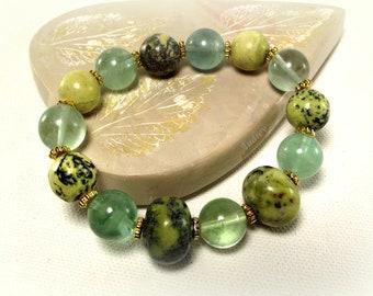 Desert Sun Yellow Turquoise and Fluorite Bracelet
