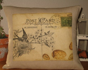 Postcard Bird and Nest Pillow Cover, Cottage Style Bird Postcard Throw Pillow with Insert