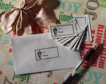 SALE! FREE SHIPPING Krampus Christmas Stickers Gift Tags Set of 10 Labels