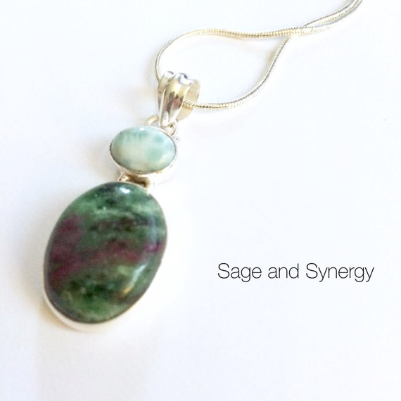 Ruby in Zoisite and Larimar Necklace, 925 Sterling Silver Jewelry for Her, Womens Gemstone Necklace, Healing Stones and Crystals