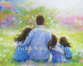 Father Three Daughters Art Print, three sisters, three girls paintings, dad three daughters, father paintings, dad gift, Vickie Wade art