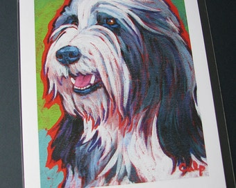 BEARDED COLLIE Dog 8x10 Signed Art Print from Painting by Lynn Culp