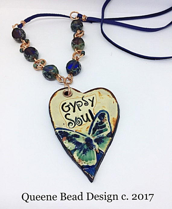 Gypsy Soul Pendant and Leather Necklace #queenebead