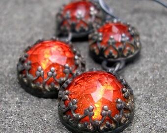 Topaz Earrings - Rose Cut Topaz Earrings - Red Topaz Sterling Silver Earrings - Red Gems - Red Stone Earrings - Fancy Bezel Gem Dangles