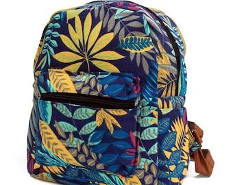 Backpack, jungle, leaf design, blue