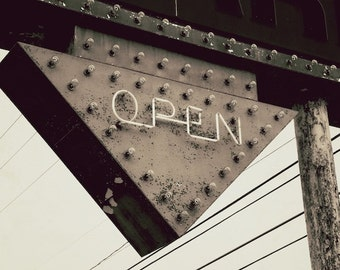 Industrial Open Sign Photo, Sepia Photography, Kitchen Sign, Small Business Art
