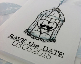 Birdcage Save The Date Tag Sample