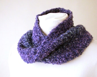 Purple Ombre Infinity Scarf - Handmade Crochet Ombre Moebius Cowl - Circle Scarf for Adult Females