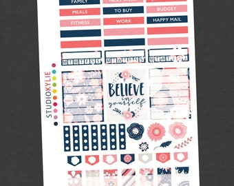Coral Pink & Blue - Stickers for the Sidebar and More - To suit Erin Condren Vertical and other Planners - Repositionable Vinyl