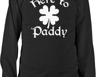 Here to Paddy, 4 Leaf Clover, St. Pat's Day, St. Patrick's Day, Irish Pride Men's Long Sleeve Shirt, NOFO_01276
