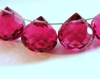 AAA Gorgeous Hot Pink Quartz Faceted Onion Briolettes 2 Pcs, Size 10-11mm