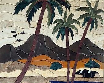 Palm trees Tent on stone mosaic art