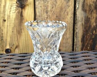 Small Thistle Shaped Posy Vase, Glass Flower Vase, Clear Glass Vase, Pressed Glass Vase, Art Deco Vase, Clear Glass Posy Vase, Art Deco