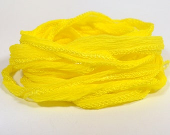 Yellow Hand Dyed Silk Ribbons - Fairy Ribbon Style - S1
