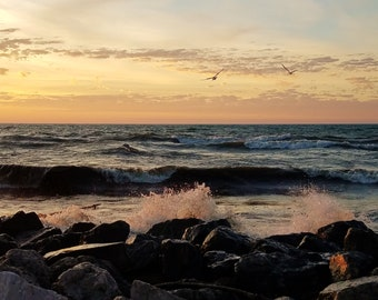 """Love sunrises? Check out this INSTANT DOWNLOAD of """"Waves At Sunrise"""" by Linda McAlpine, nature photographer"""