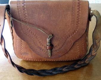 Tooled 1970s Leather Handbag Hippie Boho Braided Strap Vintage
